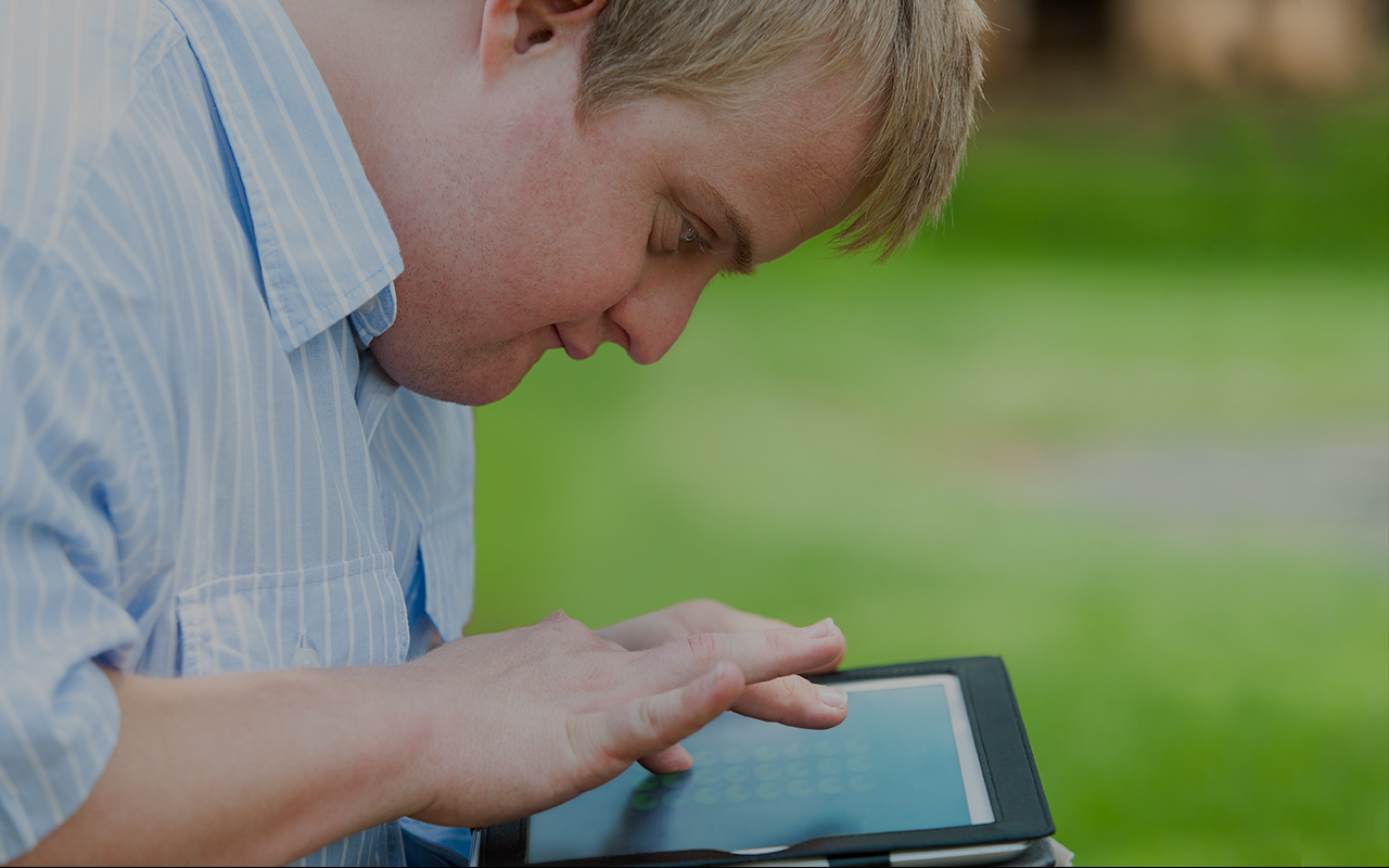 Teenager with tablet
